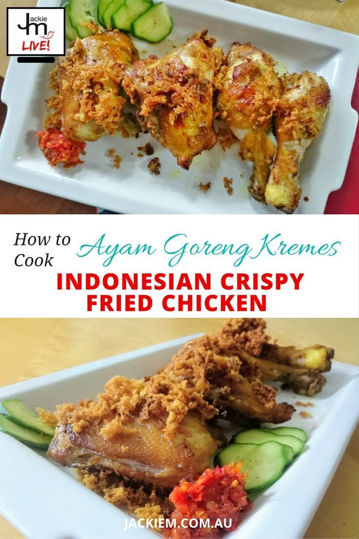 Full recipe and replay to Jackie M's Live Asian Kitchen broadcast featuring the Indonesian version of crispy fried chicken.: