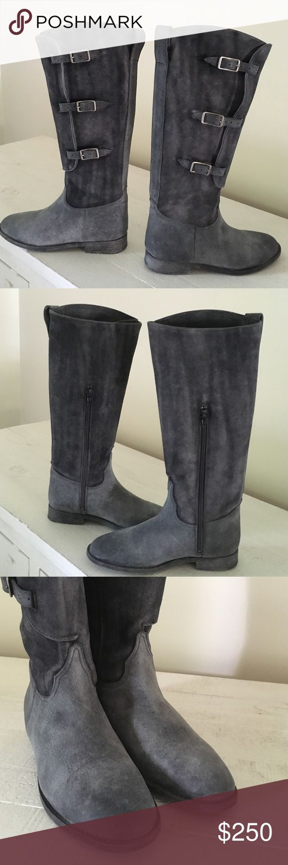 "NEW Free People Great Falls Bruna Tall boot Size 7 Gorgeous FP leather boots with adjustable buckles and inside zip for easy on/off.  Runs TTS.  1"" heel,  shaft is 16"", circumference is 16-17"" at most and can go smaller with buckles.  Price is firm and worth every penny! Free People Shoes Combat & Moto Boots"