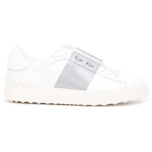 Valentino Garavani Open Tie Up Sneaker (€385) ❤ liked on Polyvore featuring shoes, sneakers, valentino shoes, tie shoes, valentino trainers and valentino sneakers