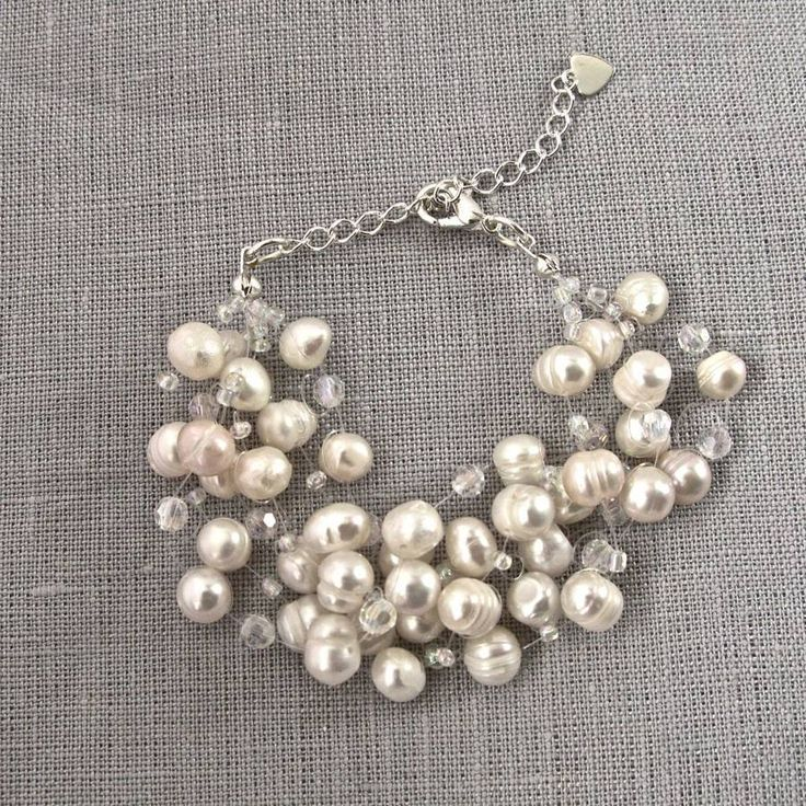 Freshwater Pearl And Crystal Multistrand Bracelet