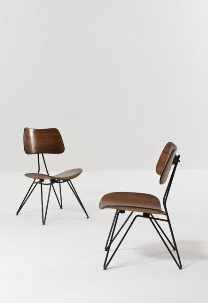 Gastone Rinaldi and Gio Ponti; #DU10 Enameled Metal and Molded Plywood Chairs for Rima, 1951.