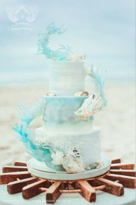 Beach themed wedding cake
