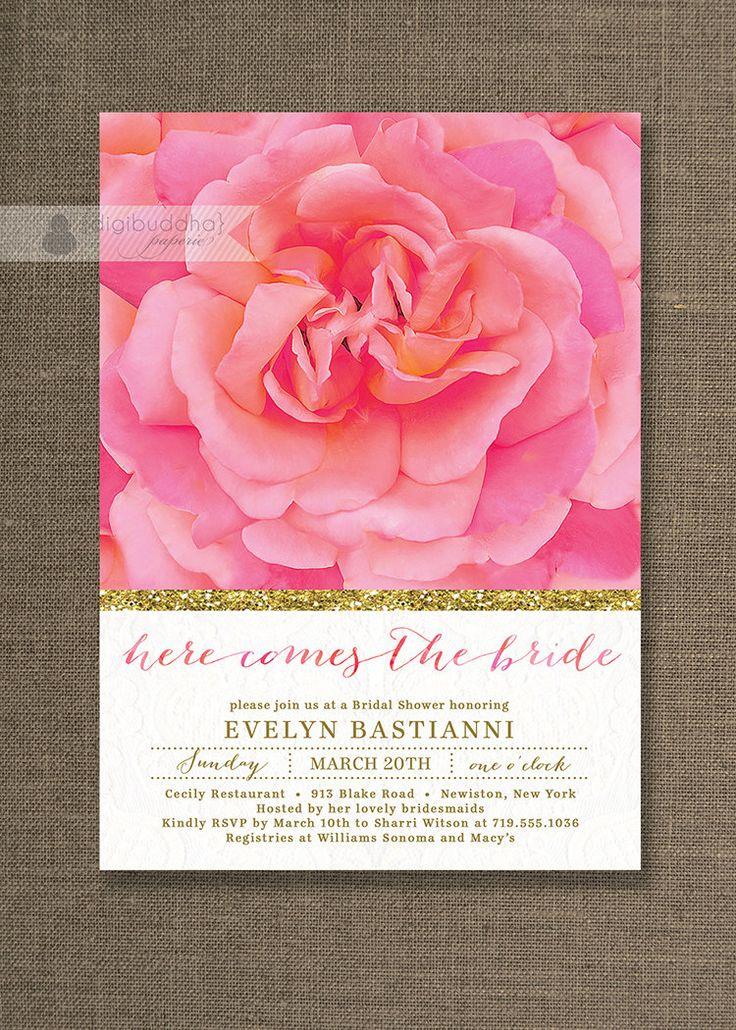 pink black and white bridal shower invitations%0A Rose  u     Gold Bridal Shower Invitation Lace Pink Glitter Shabby Chic Wedding  Invite Bloom FREE PRIORITY