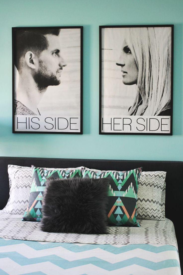 Inspiration- blueprint copies above a bed (via A Beautiful Mess)