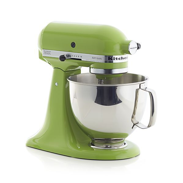 Heavy-duty mixing in gleaming green apple with KitchenAid® power and planetary mixing action that spirals the beater to 67 touch points within the bowl for quick and complete mixing. Powerful motor handles heavy mixtures while the rugged transmission ensures constant power as the load increases. Ten-speed control provides settings from very slow to high. Stainless bowl with ergonomic handle locks into the base; easy-install two-piece pouring shield facilitates easy addition of ingredients.