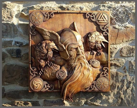 Odin And His Ravens 3d Fine Wood Carving Wood Carving
