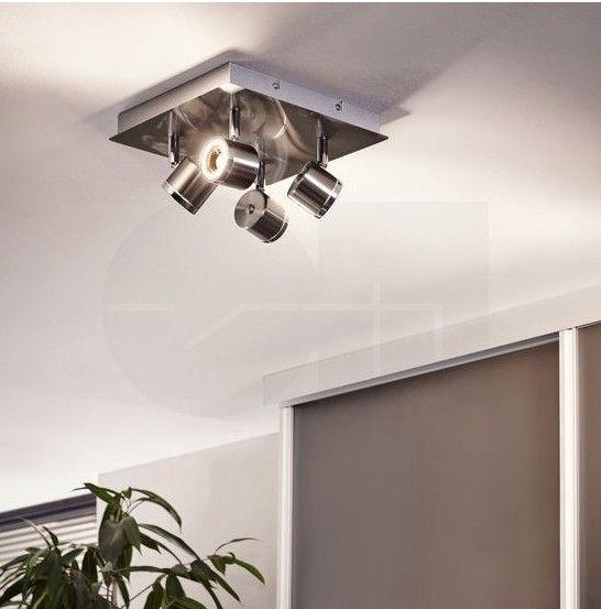 Φωτιστικό οροφής - επίτοιχο με τέσσερα σποτ σε τετράγωνη διάταξη, σε μοντέρνο στυλ, κατασκευασμένο από ατσάλι σε σατινέ νίκελ χρώμα και λεπτομέρειες σε χρώμιο και ρυθμιζόμενη γωνία φωτισμού. Pierino από την Eglo. -------------------------- Ceiling lamp with four spotlights in a modern style, made of satin nickel-plated steel and chrome details. It has adjustable angle of illumination. #spotlight #spots #led #ledlights #ledlighting #decor #bathroom #bathroomdesign #bathroomideas…