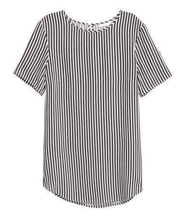 Kurzarmshirt | Weiß/Schwarz gestreift | Damen | H&M DE