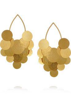Pastilles hammered gold plated earrings by Herve Van Der Straeten