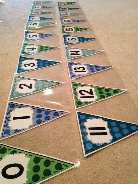 Classroom Decor Numbers ~ Printable number line bunting banner and other classroom