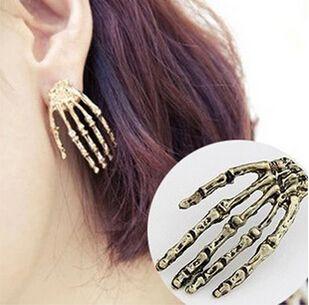 ne413  Free shipping New Trendy Women's/Girl's Yellow Gold Filled CZ Diamond Skull Pierced Stud Earrings Jewelry Gift
