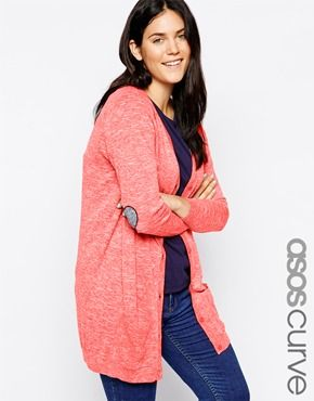 ASOS CURVE Cardigan With Navy Heart Elbow Patch