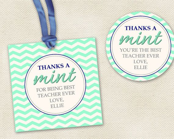 thanks a mint tags      for party favors or gifts for