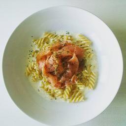 Salmon pasta with a creamy lemonsauce