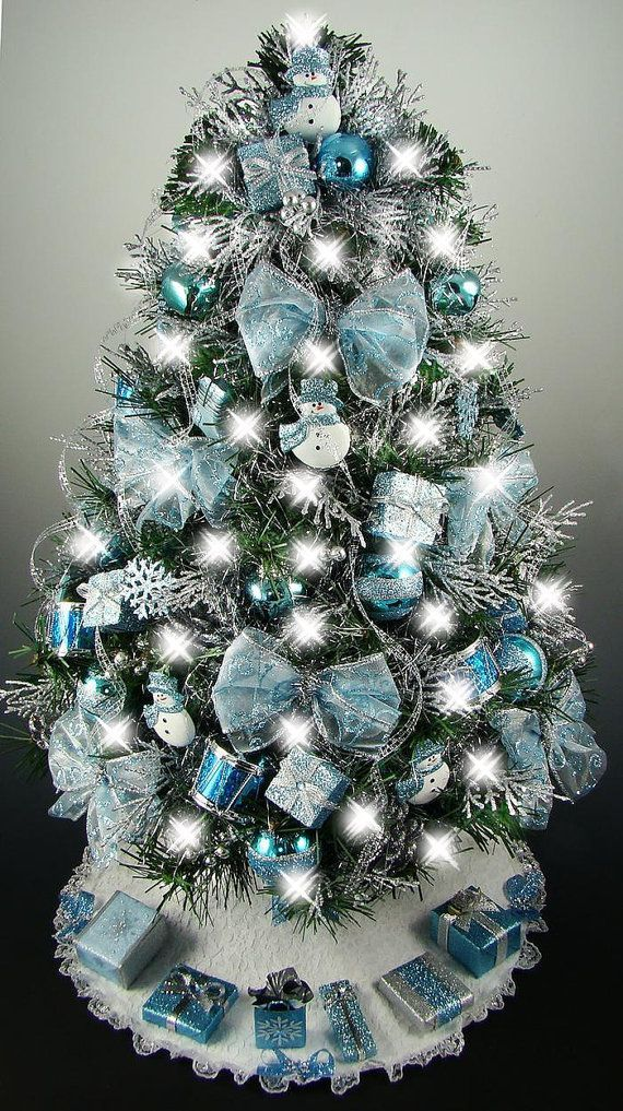Mini Tree With Lights Part - 36: Decorated Mini Tabletop Christmas Tree - Turquoise Blue U0026 Silver - Snowman  Theme - - 50 Lights - Tree Skirt - Reserved For