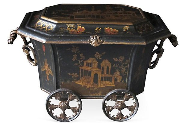 """Rare and unusual ebonized painted metal octagonal coal bin with chinoiserie decoration, made by the Coalbrookdale Foundry, Telford, England. Circa 1860."""