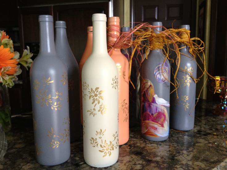 Hand Painted Wine Bottle Vases Spray Paint Acrylic