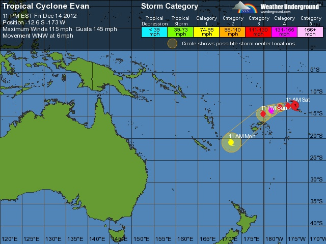 Category 3 Cyclone Evan leaves trail of death in Samoa and heads to Fiji  Posted on December 14, 2012