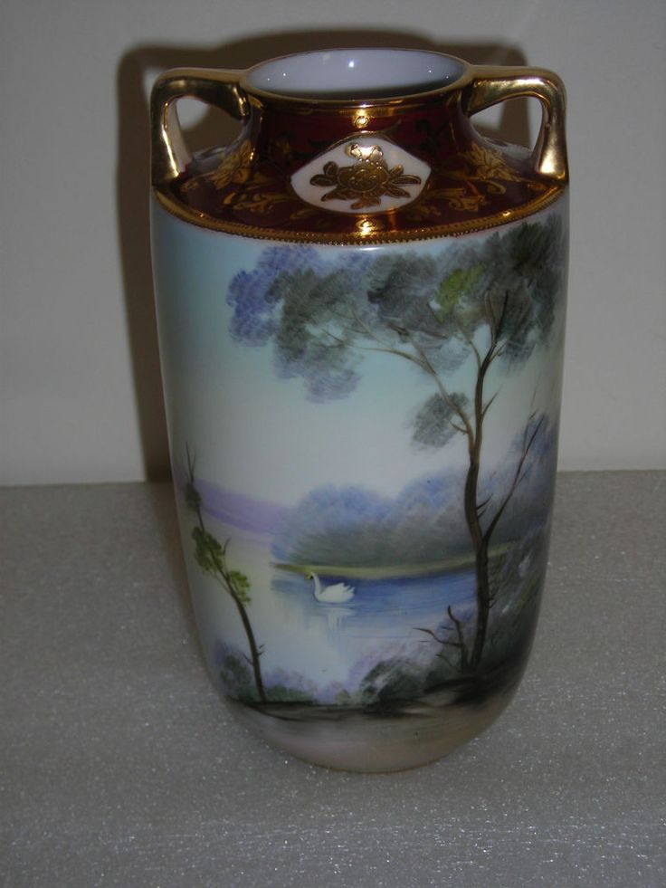 Noritake Hand Painted Gilded Vase Swan Scene Japan Green