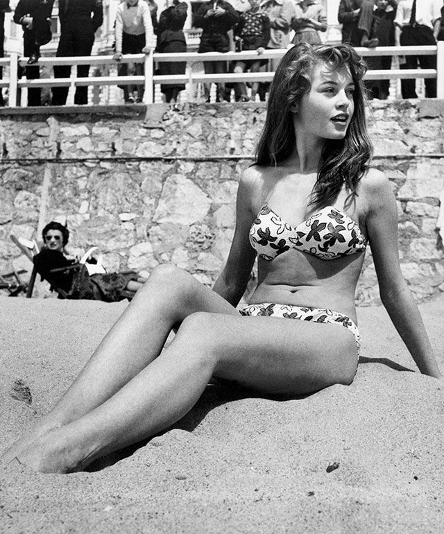 Brigette Bardot in France. Love her figure and the swimsuit!