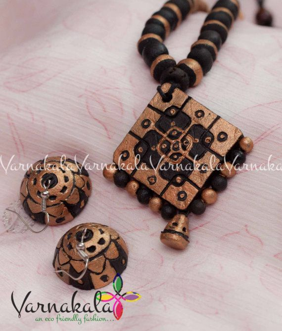 Bronze and black terracotta Jewelry eco friendly by Varnakala