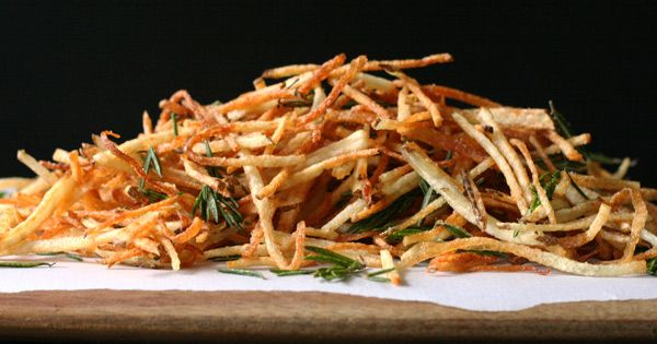 Perfectly crisp french fries-- addition of rosemary sounds good- but I'd like to try them baked