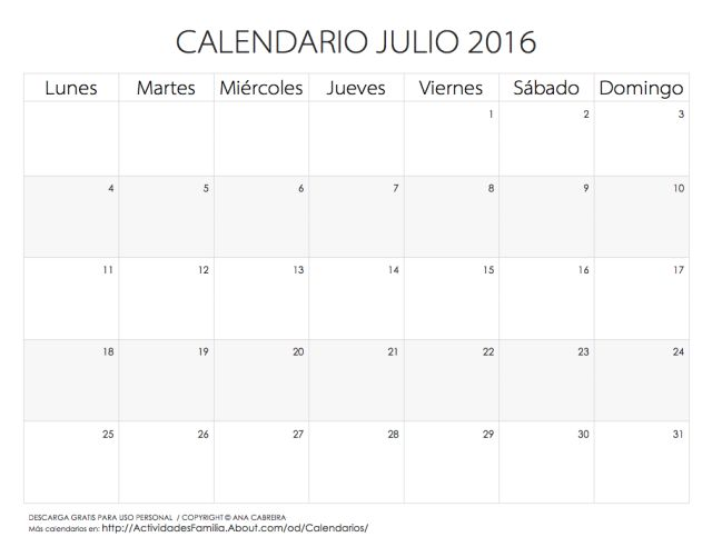 Calendarios 2016 para imprimir: Calendario Julio 2016