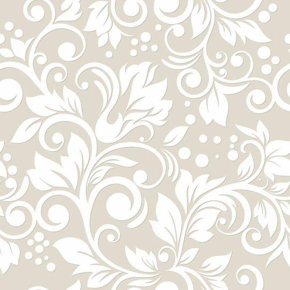 Papel de Parede Arabesco Floral Branco