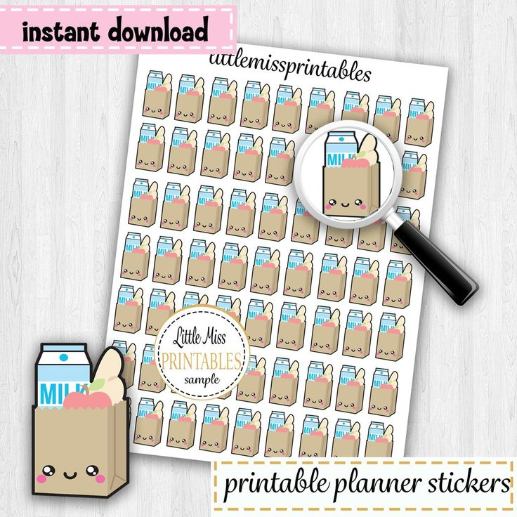 Grocery Bag Printable Planner Stickers