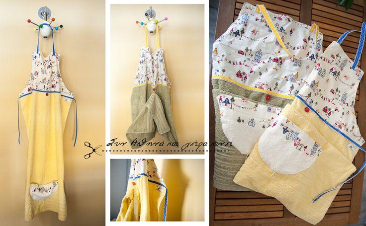 Handmade Baby Bath Apron . Baby hooded towel. New baby gift. ... Yellowland & Greenland