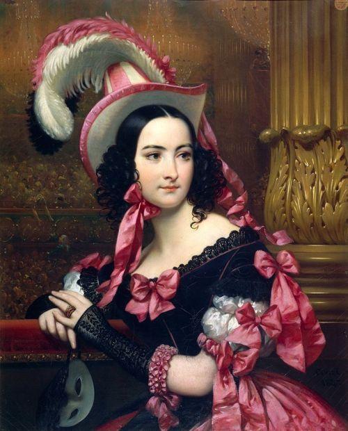 La Vénitienne au bal masqué, by Joseph-Désiré Court, 1837