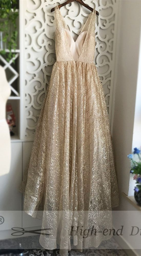 eb191e1a0dd Sparkly V Neck White Long Prom Dress Ball Gown from wendyhouse in ...