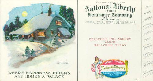 Ink-Blotter-National-Liberty-Insurance-Co-Bellville-Texas-c1929