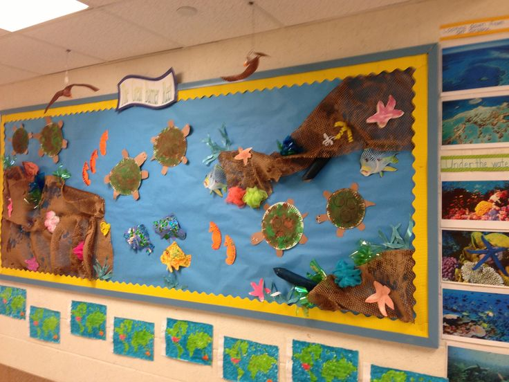 3D Bulletin Board on the Great Barrier Reef as part of a unit on Australia for Around the World week- Made with packing material as the reef and handmade coral and sea life by my students