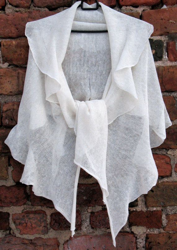 White Linen Scarf Shawl Wrap Stole Light by Initasworks on Etsy, $85.00