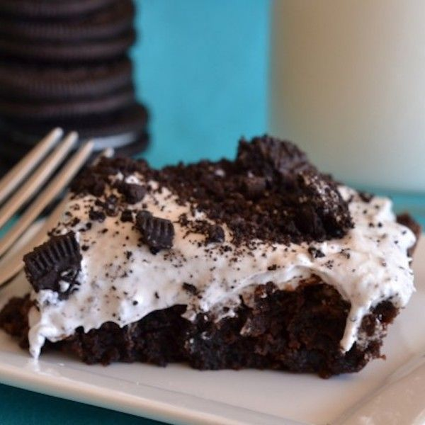 Add 1 cup crushed oreos to brownie batter. Bake. Cool. Frost with can of frosting & sprinkle with more crushed oreos.