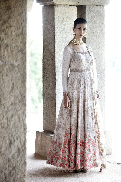 Anarkali - White Full Length Anarkali with Red and Silver Embroidery | WedMeGood Outfit by: Dolly J Bridal Collection #wedmegood #indianbride #indianwedding #white #red #anarkali #bridal #gold