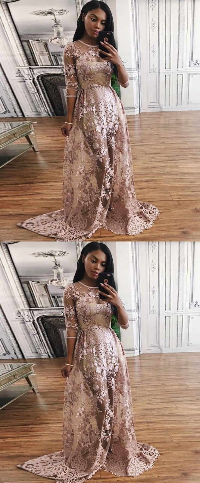 fashion prom party dresses with appliques, chic blush evening gowns with long sleeves for special occasion.