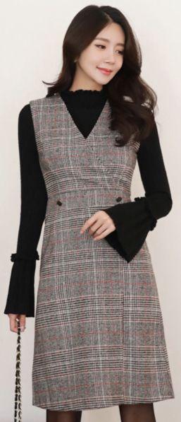 StyleOnme_Wool Blend Check Print Sleeveless V-Neck Dress #check #layered #dress #koreanfashion #kstyle #kfashion #dailylook #falltrend #seoul