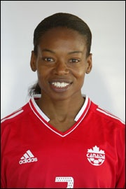 Charmaine Hooper   Professional Soccer Player    Born January 15, 1968 in Georgetown, Guyana. She was a striker for the Canadian women's national soccer team.  Charmaine has played a total of 131 times and scored 71 goals for Canada, both national records. Her international debut was on a July 7, 1986 against the United States. She was a member of the Canada squad at the 1995 and 1999 Women's World Cups.