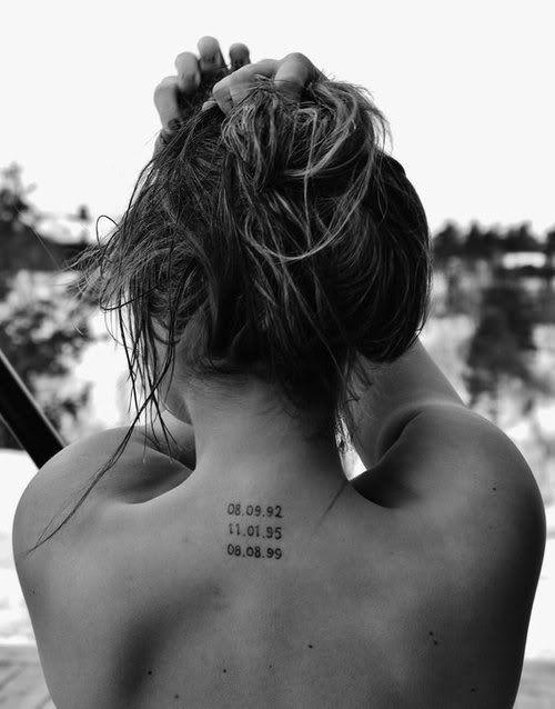 child's birth date tattoo..sweet.  Now imagine it on the octomom....Of course, she just needs one date for the group. But, in fairness, she should note the individual times...yes?