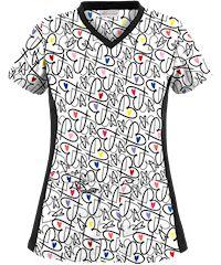 UA Tag My Heart Black Knit Print Scrub Top