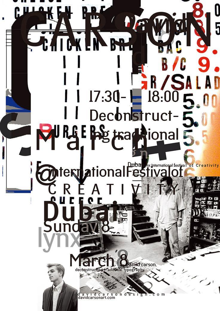 David Carson poster design for upcoming speaking engagement in Dubai.  email list: www.davidcarsonart.com