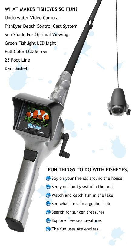 Fisheyes rod reel with underwater video camera cool for Kids fishing gear