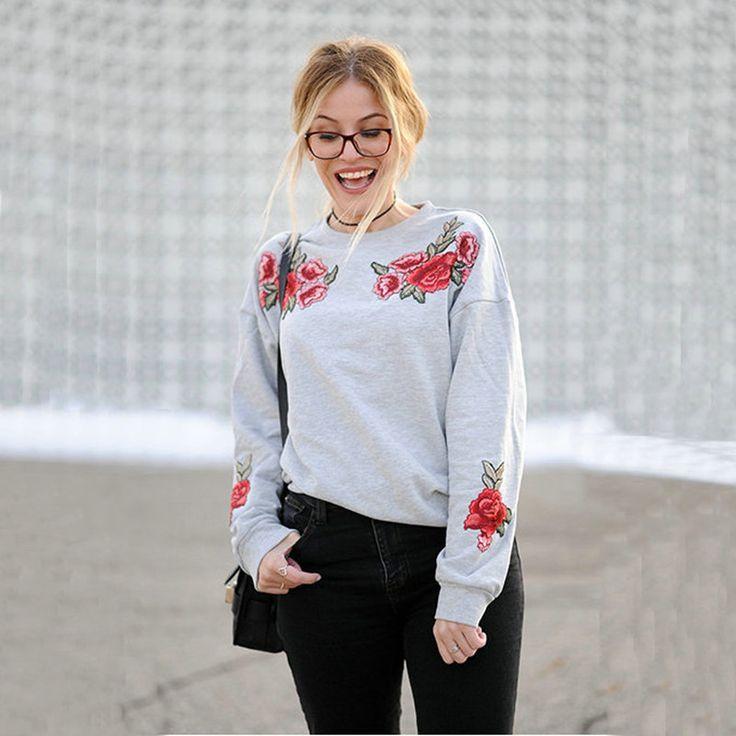 Kwiaty Aplikacje bluzy bluzy z kapturem Bluzy Kobiet 2017 Jesień Zima Długimi Rękawami i kapturem Swetry Jumper Topy Pull Femme bluzy | 32826054913_nl