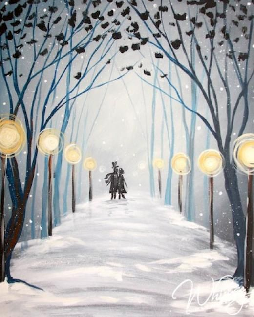 Snow Covered Path With Trees And Street Lamps RezClick