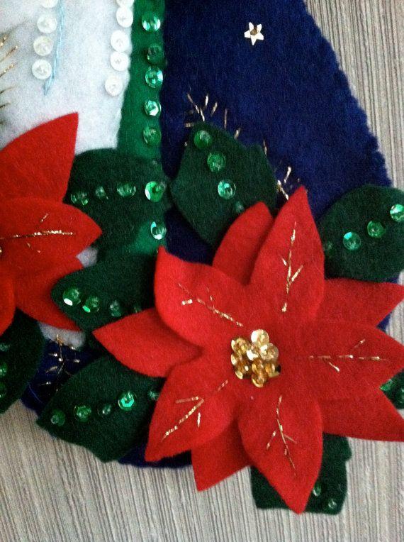 Nativity Completed Handmade Felt Christmas Stocking from