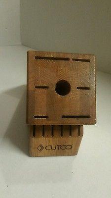 Cutco Knife Block 13 Slot 6 Steak Knives Cherry Oak Finish Kitchen Used
