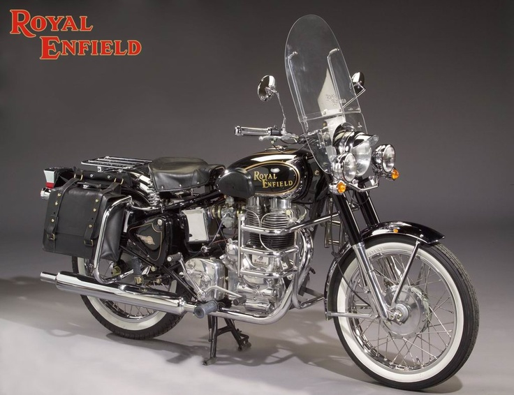 The oldest unchanged motorcycle design in the world today, the Royal Enfield Bullet in touring mode. The same design since the 1950s, still as beautiful as it was in it's heyday.
