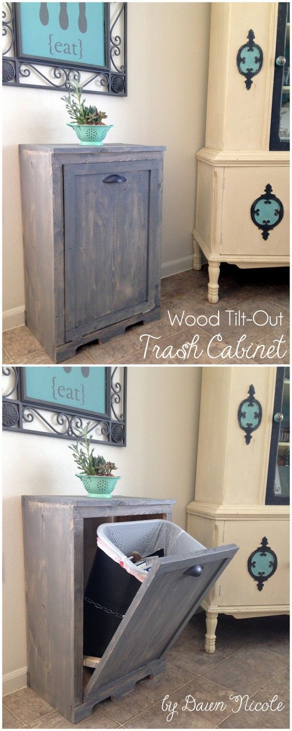 Wood Tilt Out Trash Can Cabinet. Hide your ugly trash can and aslo gain extra storage in the kitchen with this brilliant fix abd DIY kitchen design.